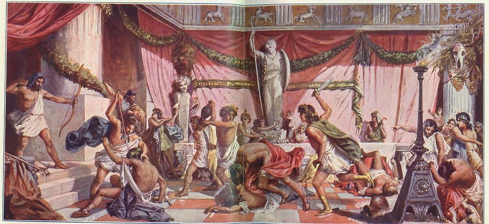 A painting by Geiger Richárd depicting Odysseus killing the suitors who have invaded his home to court his wife during his absence; various figures are injured, dead, or milling around in violent panic