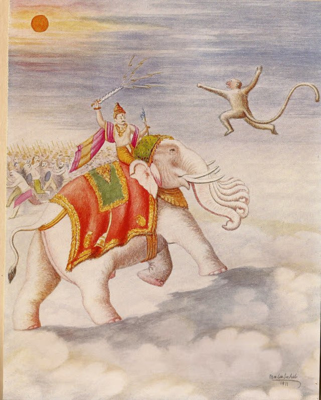 A drawing of the Hindu god Indra on his seven-headed elephant mount, raising his sword as he stops Hanuman the monkey god from trying to eat the sun like a fruit