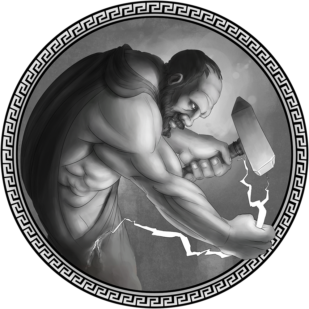 A black-and-white illustration of the Greek god Hephaistos, wearing a cloak and holding a hammer, bent over as he works on a lightning bolt
