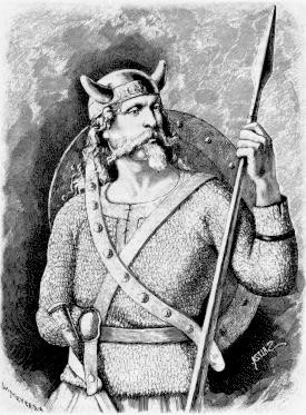 A black-and-white etching of the Norse god Tyr, wearing full armor with a horned helment on his head and a shield on his back, holding a spear in his one hand