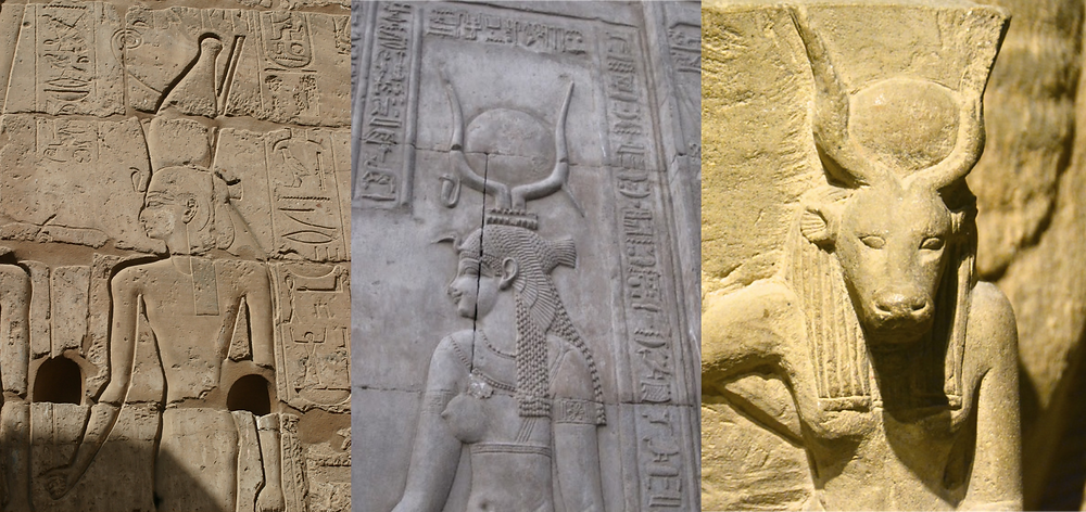 Three ancient Egyptian stone depictions of goddesses. From left to right: Mut, a goddess wearing a tall crown; Mut-Hathor, a goddess with a crown and cow horns cradling a sun disc; and Hathor, a cow-headed goddess with the sun disc in her horns.