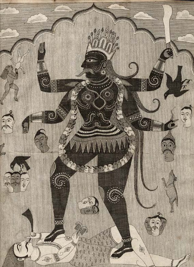 A black-and-white etching of the goddess Kali, wearing a necklace of skulls and a crown, standing on Shiva who is blowing a horn, both surrounded by small depictions of gods and animals from HIndu mythology