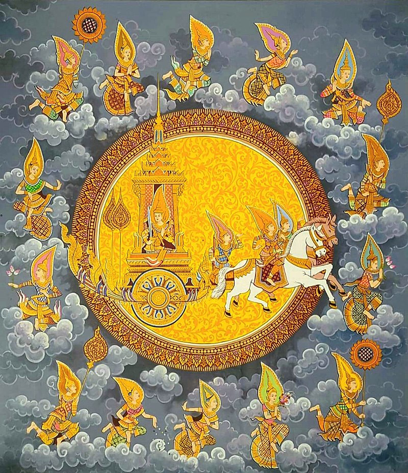 A painting of the Hindu god Surya in his chario, surrounded by the disc of the sun, being pulled by horses and charioteers and attended by a large retinu of other gods flying around him