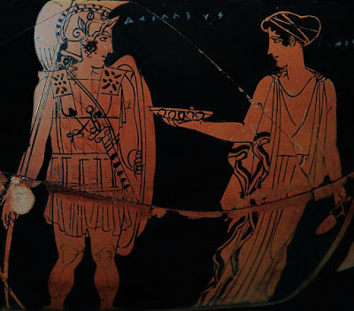 An ancient Greek pottery painting of the hero Achilles being given a dish of water by the nereid Kymothea
