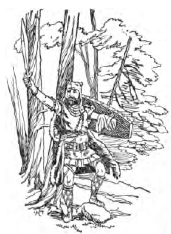 A black-and-white illustration of the Norse god Tyr standing in the woods, wearing full armor and a bear-fur headdress and cloak, holding a sword aloft in his left hand with a shield strapped to the stump of his right arm