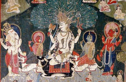 An ancient Hindu painting of the god Shiva enthroned atop his black bull, surrounded by members of his family including Parvati and Ganesha