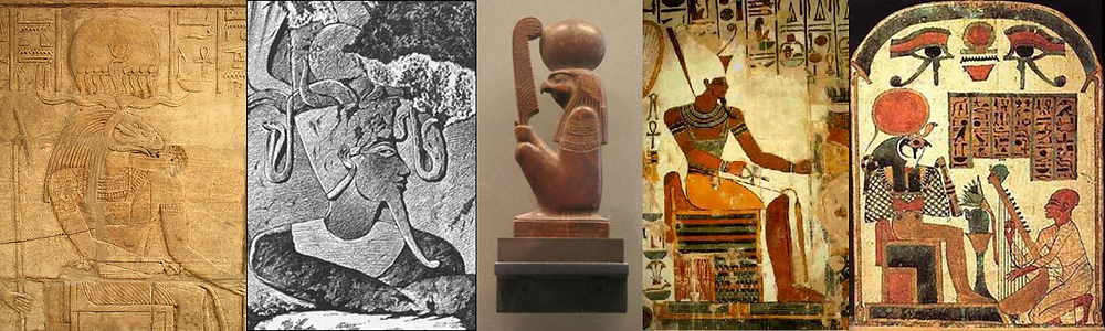 Five images of Egyptian deities. From left-to-right: Amun-Ra, a goat-headed god with a sun disc; Amun, a god wearing an elaborate crown; Ra, a falcon-headed god with a sun disc and feather; Atum, a god with the double crown of combined Egypt; and Atum-Ra, a falcon-headed god with a massive sun disc