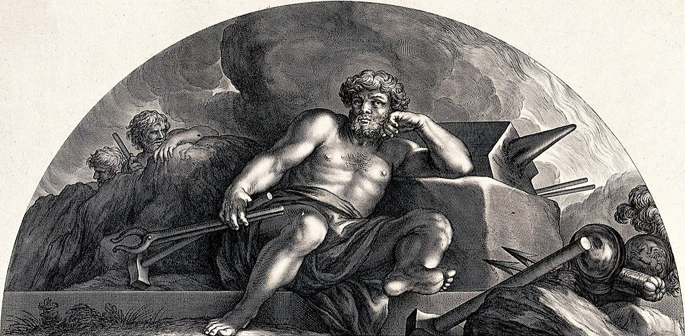 A black-and-white drawing of Hephaistos, wearing a robe over his lap, lounging against his anvil holding his tools while surronded by weapons