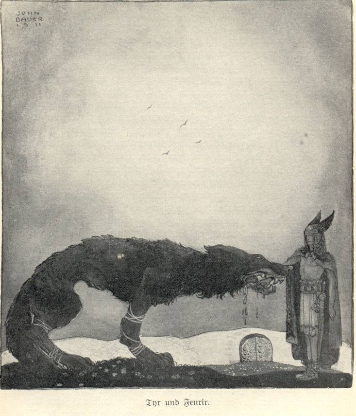 A black-and-white illustration of the giant wolf Fenrir, tied around all four legs with a white ribbon, standing in front of the god Tyr, who is wearing armor, a cloak, and a winged helmet and whose hand is held in the wolf's jaws