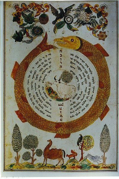 A color illustration of a giant orange and yellow fish curled in a circle around curved Hebrew text, in the center of which is a white bull; they are surrounded by drawings of birds, plants, trees, and horses