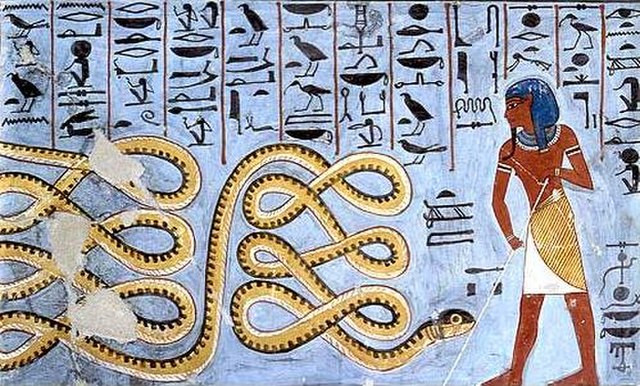 An ancient Egyptian wall painting depicting the endless serpent Apep being held at bay by a single person with a stick, both surrounded by hieroglyphs