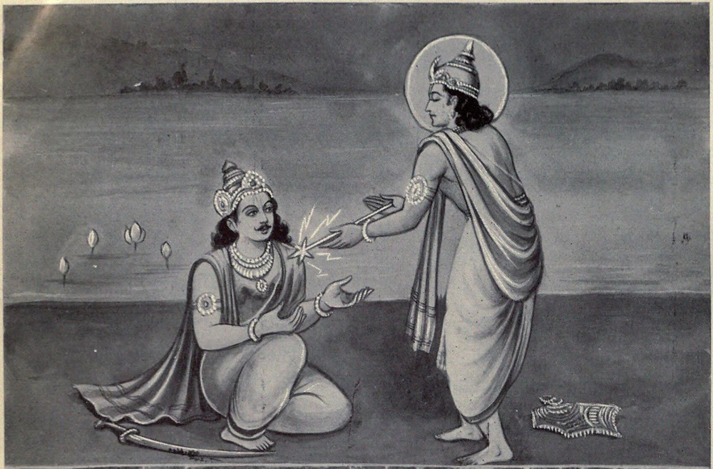 A black-and-white illustration of the god Indra wearing a robe and crown, giving the Hero Karna the Indrashakti weapon to use in war