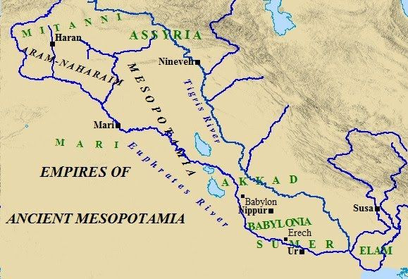 A map of the ancient empires of Mesopotamia