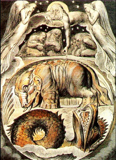 William Blake's color ink illustration of gods and angels, haloed and surrounded by cars, looking down at the earth, where Behemoth appears as a giant grey creature with large ears and tusks, standing beside an ocean from which the scaled head and one coil of Leviathan emerge with open mouth