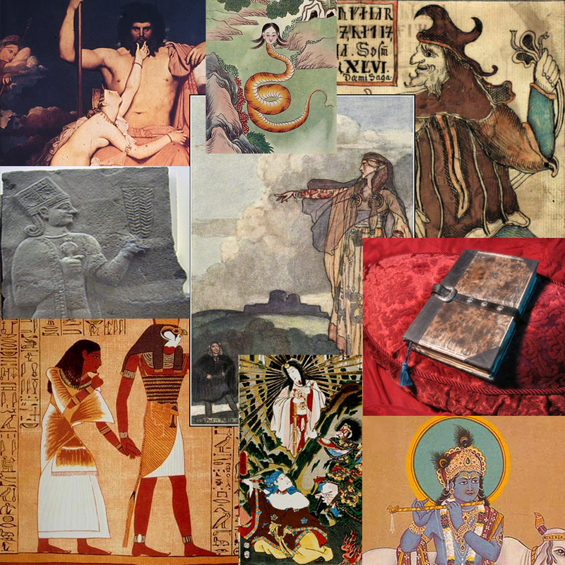 A collage of images depicting deities from various religions and myths