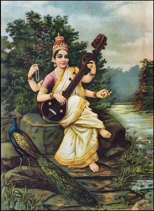 An image of the 19th-century painting Saraswati by Raja Ravni Shankar, depicting the goddess seated beside her river, wearing gold, with her veena, rosary, book, and crown, accompanied by a peacock