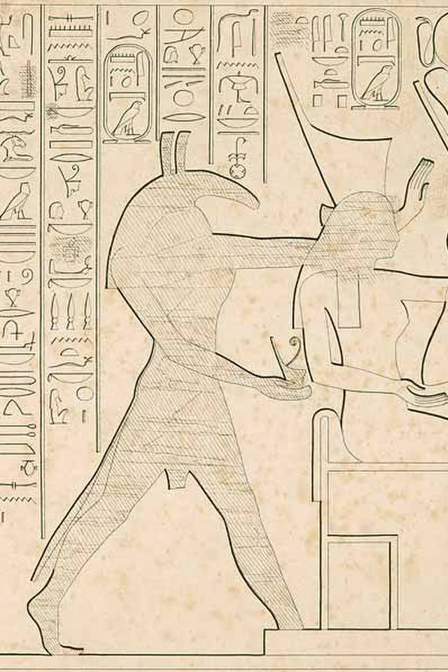 A drawing reproducing an ancient Egyptian fresco that once showed the god Set crowning a queen, but has since been defaced to remove his figure