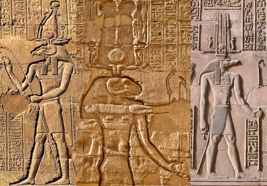 Three stone depictions of ancient Egyptian gods. From left to right: Khnum, a ram-headed god with tall horns and a crown; Khnum-Sobek, a ram-headed god with short curling horns and a feathered headdress; and Sobek, a crocodile-headed god with a feathered headdress.