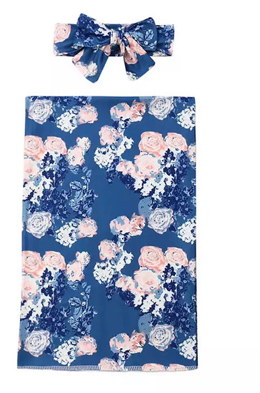 Navy Floral Swaddle Set