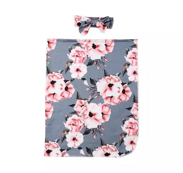 Grey & Floral Swaddle Set