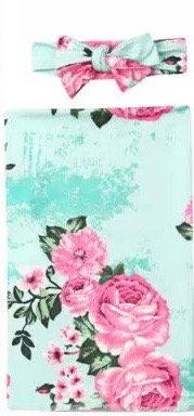Aqua Rose Swaddle Set