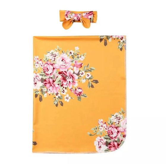Mustard Floral Swaddle Set