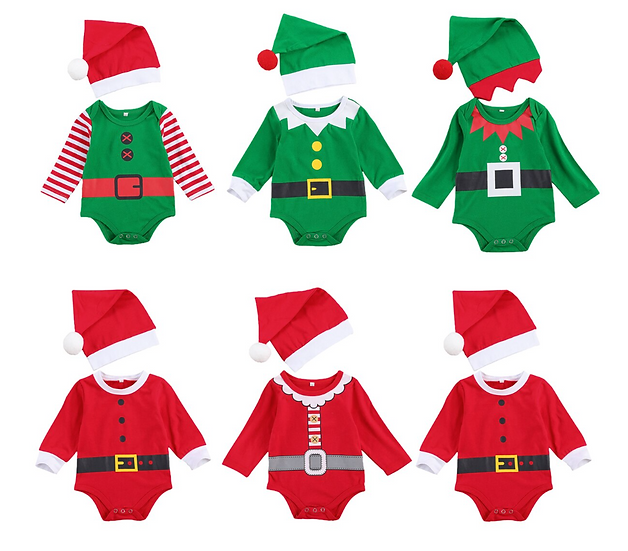 Elf & Santa Romper Set