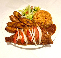 Jollof rice & Red Fish, Plantain on the side