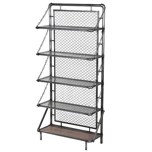 Metal Mesh 5 Shelf Wall Unit