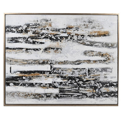 Abstract Gold, Black and White Painting