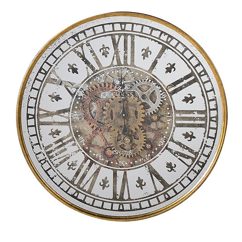 Round Gold Cogs Wall Clock