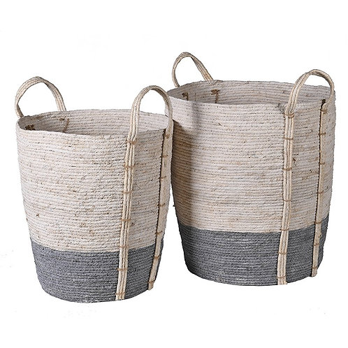 Set of 2 Grey & White Seagrass Baskets