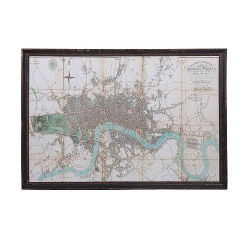 Large Framed River Thames Map