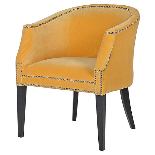 Ebony Mustard Dining Armchair with Chrome Studs