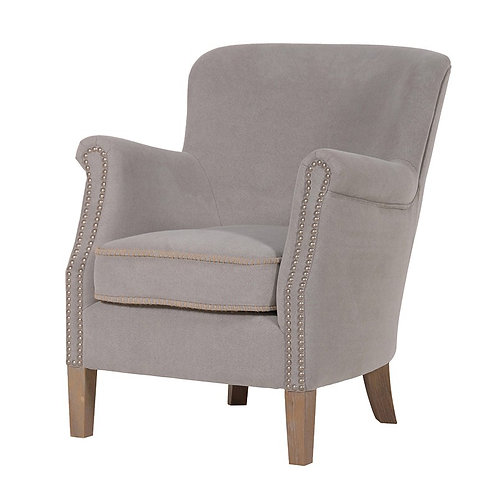 Light Grey Cotton Easy Chair