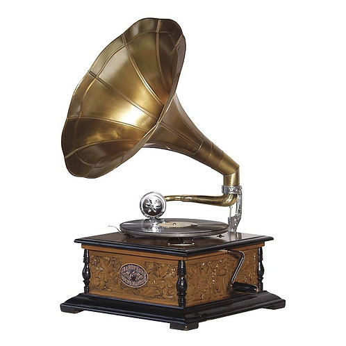 Wind-Up Gramophone with Horn
