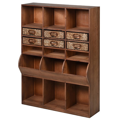 Wooden Pigeon Hole Wall Unit