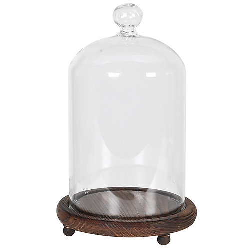 Small Wooden Base Glass Dome