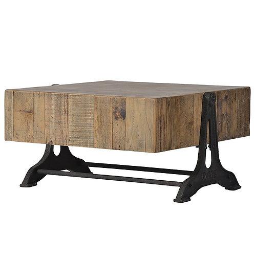 Wood Block Coffee Table Iron Base