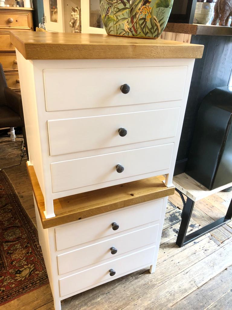 Three Drawer white bedside