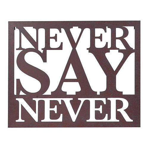 'Never Say Never' Metal Sign