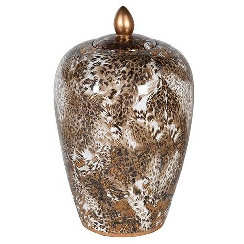 Small Lidded Leopard Jar