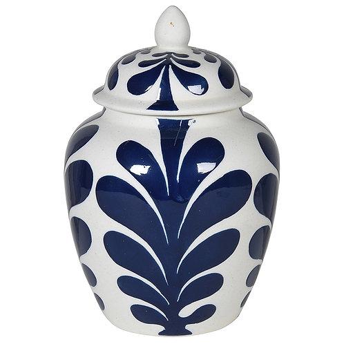 Small Leaf Design Lidded Jar
