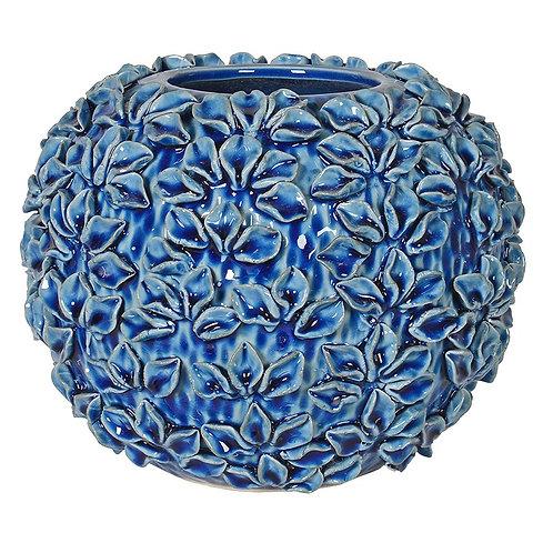 Blue Flower Ball Vase