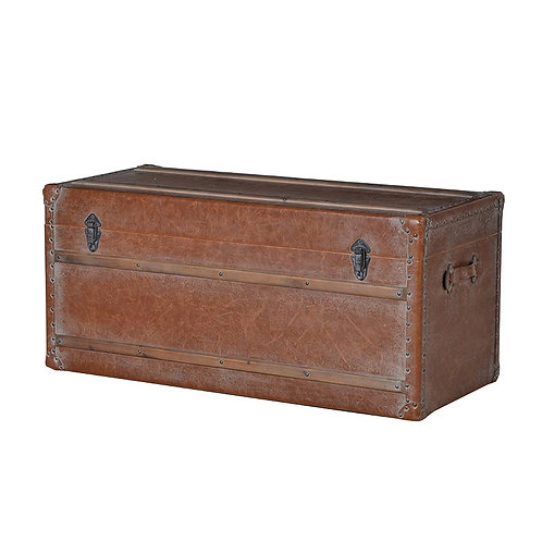 Large Leather Bound Trunk