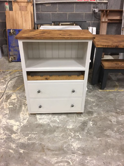 White Wine bookcase with 2 Drawer