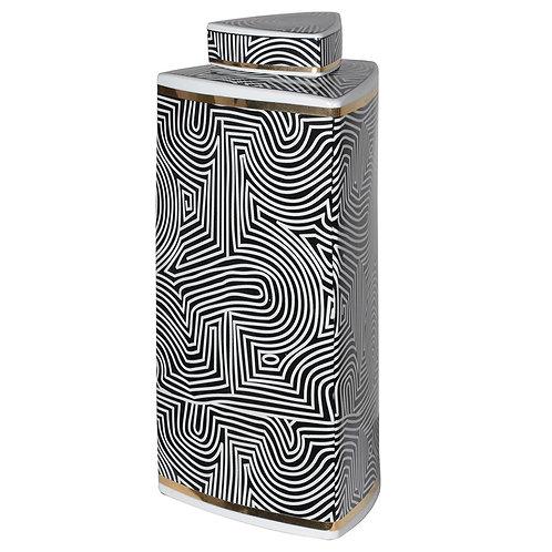Large Black and White Op-Art Tri Jar