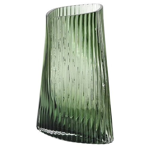 Green Ribbed Twist Vase