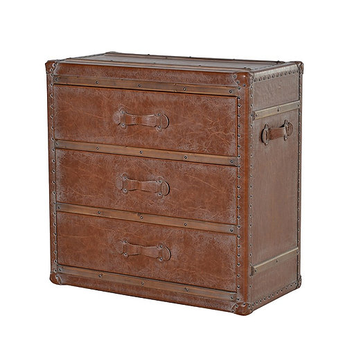 Leather Bound 3 Drawer Chest