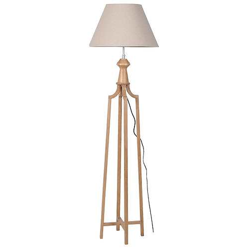Wood Frame Floor Lamp with Beige Shade